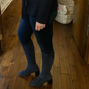 Tory Burch knee high navy suede boots. Size 10.